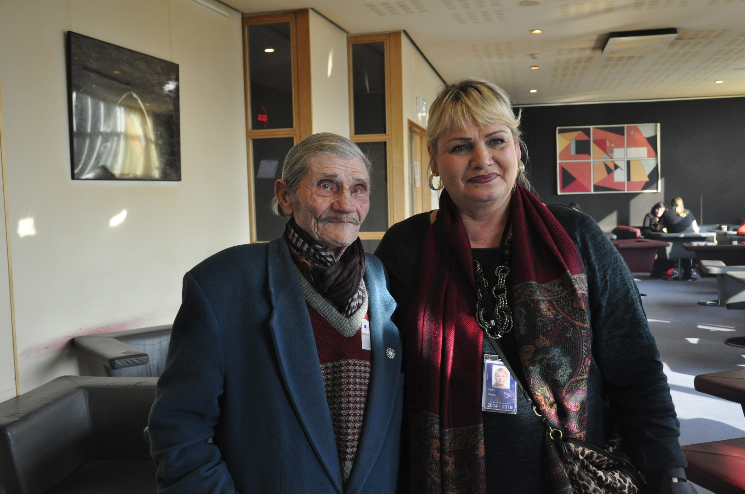 Soraya Post, former Member of the European Parliament and initiator of the resolution for the recognition of the Roma genocide, together with Raymond Gurême, a French Roma Holocaust survivor and fighter of the French resistance, who addressed members of parliament March 2015