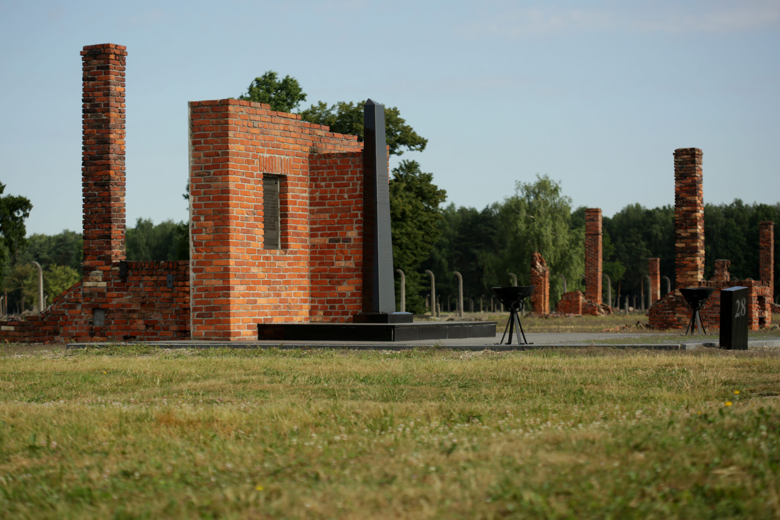 "Photo of the memorial commemorating Sinti and Roma prisoners on the grounds of the former ""Zigeunerlager"" taken by Jaroslaw Praszkiewicz."
