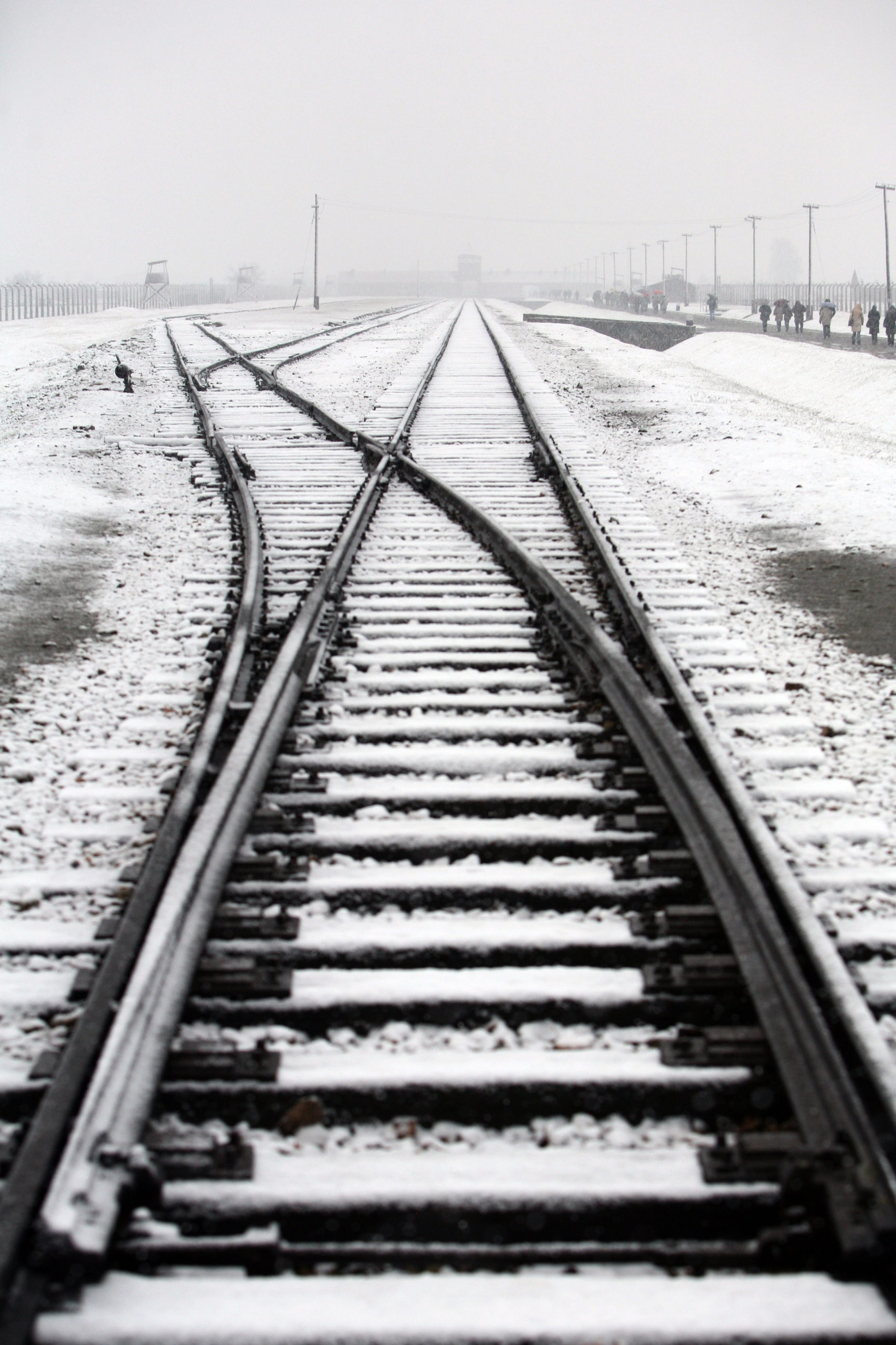 Photo of snow-covered rails of Auschwitz-Birkenau taken by Jaroslaw Praszkiewicz.
